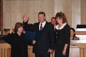 Chief Justice White Berch swears in Senator Farnsworth