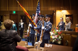 The Luke Air Force Base Honor Guard presenting the colors