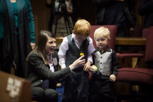 Deputy Sergeant at Arms Jenna Lyon (right) with James and Jaxon Bower (center and left)