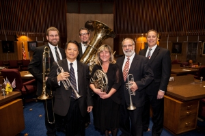 The Phoenix Symphony Brass Quintet with President Biggs